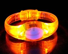12 PC LED Light Up Oval Sound Activated Bracelets Wristbands - Various Colors by Mammoth Sales (Orange)