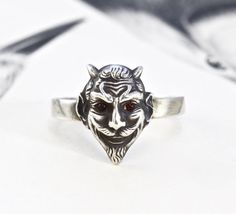 Victorian Devil Ring, Antique Sterling Silver & Garnet Demon Satyr Gargoyle Beelzebub with a Whimsical Mustache, Bohemian Statement Jewelry