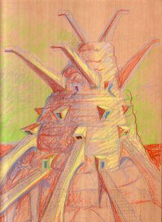 1999 CAPRICCI_MAUSOLEI 4 tecnica mista su tavola di legno cm.34,5 x 25 by Brunetto De Batté