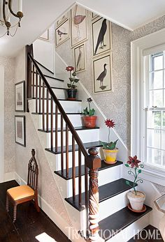 Nantucket Summer Home eines Designers - Treppe Architectural Digest, Beautiful Space, Beautiful Homes, Hickory House, Nantucket Home, House Stairs, Home Upgrades, Traditional House, Cottage Style