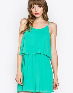 – Layer detail slip dress – Elastic band around waist – Spaghetti strap – Button closure on back  Size + Fit – Model is wearing size S – Measurements taken from size S – Length: 23.25″ – Waist: 24″ – Chest: 33″