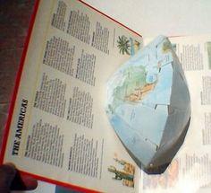 Libros Pop-Up Books Cards: Interesante Hemisferio en 3D en Libro Atlas Pop-Up del Mundo