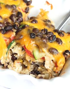Cheesy Veggie & Black Bean Tortilla Casserole ~ An Easy & Satisfying Meatless Meal {MomFoodie at blommi.com}
