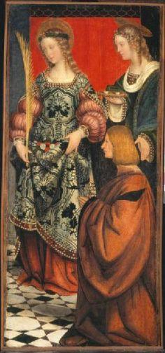 Giovenone Girolamo (1486/ 1555): Santa Dorotea, Santa Lucia e Pietro o Bartolomeo Meschiati, post 1503, olio su tavola, 58,5 cm x 125,5 cm