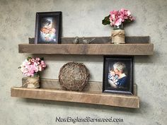 Our Rustic Farmhouse Gallery Wall Ledge Shelves are handmade and built especially for you! Group 2 or 3 of these together on your wall for your family photo collection and decorative accents. Rustic Wooden Shelves, Rustic Floating Shelves, Rustic Wall Decor, Rustic Walls, Country Decor, Gallery Wall Shelves, Rustic Gallery Wall, Picture Shelves, Picture Ledge