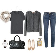 Grey on grey with jeans and neutral accessories