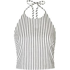 Womens Sleeveless Tops Alice + Olivia Jaymee Striped Cropped Cotton... ($260) ❤ liked on Polyvore featuring tops, white sleeveless top, striped crop top, halter neck crop top, crop top and stripe top