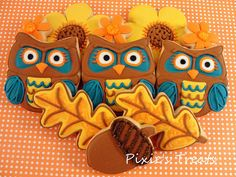 Fall Owls Cookie #owl #fall #leaves #acorn #autumn #cookie #treat #flower #orange