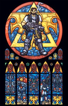 Starcraft Terran Stained Glass Window Print  por FayProductions, $25.00