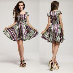 Hot Sale Silk Satin Slim Waist Short-Sleeve Stripe Expansion Bottom Hem Short Dress 2014 Spring Summer Cute Ladies Women Clothes