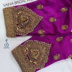 To get your outfit customized visit us at Chennai, Vadapalani or call/msg us at for appointments, online order and further… Sleeve Designs, Blouse Designs, Aari Work Blouse, Lehnga Dress, Saree Wedding, Designer Wear, Short Sleeve Blouse, Hand Embroidery, Indian Weddings