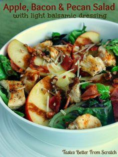 Apple, Bacon & Pecan Salad with light balsamic dressing