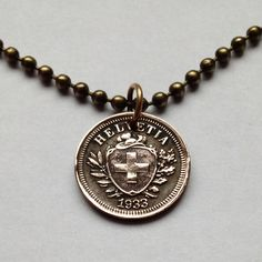 1942 switzerland 1 rappen coin pendant necklace jewelry for Jewelry stores in geneva switzerland