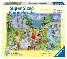 "Ravensburger Critter Tea Party - 24 Pieces Super Sized Floor Puzzle by Ravensburger. $12.99. Puzzles help support a child's development as they play. Puzzle size: 24"" x 36"". While piecing together various shapes and sizes to discover a bigger picture, a child develops concentration and creativity. From the Manufacturer                Since 1891 we've been making the finest puzzles and it's our attention to detail which makes Ravensburger the world's greatest puzzle brand. Experi..."