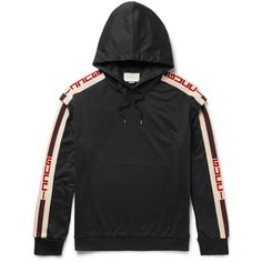 Gucci Oversized Taped Jersey Hoodie ($1,200) ❤ liked on Polyvore featuring men's fashion, men's clothing, men's hoodies, mens sweatshirts and hoodies, mens short sleeve hoodies and mens hoodies