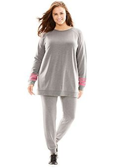 """A sporty-chic head-to-toe look that will layer easily over sports bras and tanks. Wear it to a workout class or when out and about. Top has a 28"""" length, Pant has a 28"""" inseam Poly fleece spandex, imported Machine washable       Famous Words of Inspiration...""""You... more details available at https://perfect-gifts.bestselleroutlets.com/gifts-for-women/clothing-shoes-jewelry-gifts-for-women/product-review-for-woman-within-womens-plus-size-two-piec"""