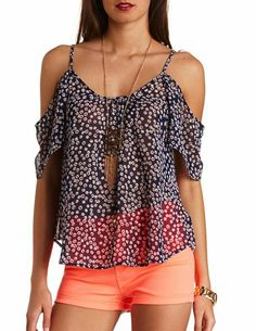 Sheer Daisy Print Cold Shoulder Top: Charlotte Russe