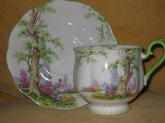 Royal Albert China Greenwood Tree Footed Teacup & Saucer Set $25.00