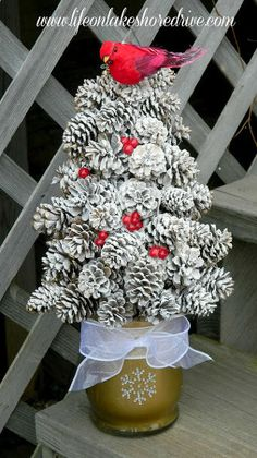 winter pine cone trees with berries and birds, crafts, Winter Pine Cone Trees flocked with snow