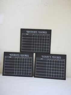 "Set of Three 11x14"" Chalkboard Chore Charts.  Family organization.  To do's.  Chores."