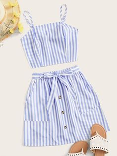 To find out about the Striped Shirred Crop Top & Button Front Belted Skirt at SHEIN, part of our latest Two-piece Outfits ready to shop online today! Cute Summer Outfits, Cute Casual Outfits, Teen Fashion Outfits, Girl Fashion, Suits For Women, Clothes For Women, Mode Chic, Skirt Belt, Crop Top Outfits