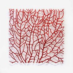 'Red Coral Square' Polyester thread and pins on paper. By Meredith Woolnough