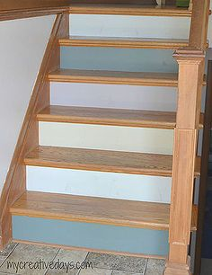 painted and numbered stairs, diy, foyer, painting, stairs