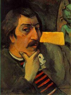 Paul Gauguin: Born June Portrait of the Artist with the Idol. Oil on canvas, 17 x 12 x cm). Bequest of Marion Koogler McNay. © McNay Art Museum / Art Resource, N. Paul Gauguin, Henri Matisse, Pablo Picasso, Van Gogh Arte, Photo Portrait, Impressionist Artists, Vincent Van Gogh, Art History, Art Museum