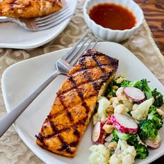 Grilled Salmon Recipe with Maple-Sriracha-Lime Glaze [#SouthBeachDiet friendly #low-glycemic #recipe from Kalyn's Kitchen; visit the blog to see step-by-step photos of this recipe.]