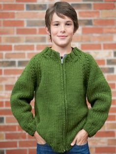 This cozy knit jacket is perfect for keeping kids warm on the playground! Shown in Bernat Softee Chunky. A quick and easy knit for the grandsons. Knit Cardigan Pattern, Sweater Knitting Patterns, Jacket Pattern, Knitting Yarn, Free Knitting, Baby Knitting, Crochet Patterns, Knitting Needles, Crochet For Boys