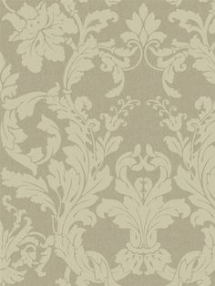 Two beautiful full blooms anchor this acanthus filigree damask, shaping the frame in a uniquely linear effect. A soft linen background sets the stage for pearled and metallic inks combined with the special effect of iridescence. Soft glowing colors include blush, ivory, taupe, bronzed gold, glinting beige and shimmering teal.   AmericanBlinds.com