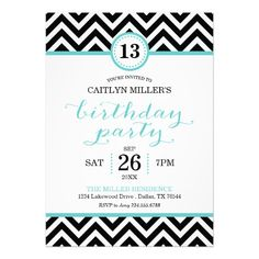 Teen Girls Zebra Stripe Birthday Invitation by DesignedByMisty