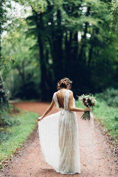 Lovely boho wedding dress in the woods