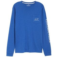 Men's Vineyard Vines Vintage Whale Graphic Pocket T-Shirt ($36) ❤ liked on Polyvore featuring men's fashion, men's clothing, men's shirts, men's t-shirts, royal ocean, mens longsleeve shirts, mens extra long sleeve shirts, mens long sleeve t shirts, mens t shirts and vineyard vines mens shirts