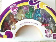 My Little Pony Rainbow Collection Crystal Empire by Hasbro. $20.39. My little pony rainbow collection crystal empire. Welcome to the crystal empire a magical place full of hidden secrets! The ponies shine and sparkle here! 7 pony figures pinkie pie, applejack, fluttershy, emerald ray, rainbow dash, twilight sparkle and rarity. Includes Stickers!