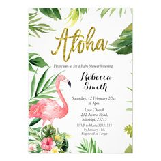 Aloha Flamingo Baby Shower Invitation Custom #babyshower invitations - Make your special day with these personalized #baby #shower #invitations change the colors font and images and make them your own.