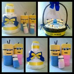 Diaper Cakes + Minions + Babyshower + Gifts Minion Parent Diaper Cakes, Baby Minion diaper rolls, Lil' Minion Diaper Basket by CornerStorkBakery Baby Shower