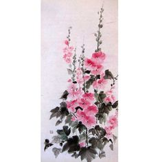 Japanese Ink Painting, Rice Paper painting, Sumi-e, Suibokuga,Large painting,  Pink, Flowers,Hollyhock