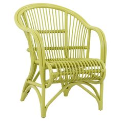Crafted from colorful rattan, this elegant arm chair makes a bright addition to your dining set or sunroom.  Product: Chair...