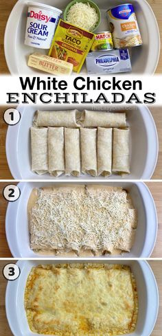 Easy Dinner Recipes, Great Recipes, Dinner Ideas, Favorite Recipes, White Chicken Enchiladas, Easy Cheese Enchiladas, Mexican Dishes, Mexican Food Recipes, Crockpot Recipes