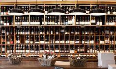 The wine bottle display at La Cave de Belleville