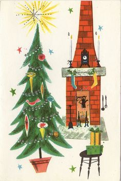 Mid century modern vintage christmas scene - tree, fireplace, chimney, gifts by Christmas Tree And Fireplace, Christmas Art, Christmas Greetings, Winter Christmas, 1950s Christmas, Christmas Feeling, Christmas Scenes, Modern Christmas, Christmas Ideas