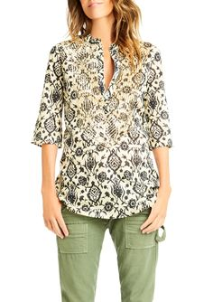 """Stephanie updates our signature three-quarter sleeve tunic in our Persian-inspired print featuring rows of gold mini sequin embellishments at neckline and down front. Easy to wear, this tunic is incredibly flattering with its narrow arms and slightly fluted hem.</p> <p>Sizing: Fits true to size. Model wears size x-small. Model's height is 5'11""""""""; bust 34""""; waist 28""""; hips 38""""</p> <li>Made in India</li> <li>100% Cotton Voile</li> <li>Dry clean</li>"""