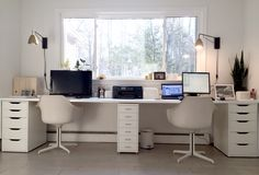 Ikea hacked faux built-ins double desk. Love the sun-filled & fresh Nordic style. Ikea hacked faux built-ins double desk. Love the sun-filled & fresh Nordic style office! Ikea Home Office, Home Office Layouts, Home Office Organization, Home Office Space, Home Office Furniture, Furniture Ideas, Office Decor, Barbie Furniture, Organization Ideas