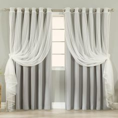 Aurora Home MIX & MATCH Wide Blackout with Tulle Lace Sheer Bronze Grommet Curtain | Overstock.com Shopping - The Best Deals on Curtains