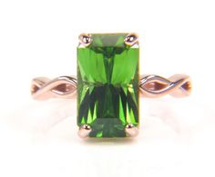 Peridot Ring  Rose Gold Ring  Rose Gold Peridot Ring by bskdesigns, $1050.00