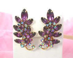 Purple Rhinestone Clip Earrings, Upsweep Ear Climbers, Vintage c1950-60s Retro Costume Jewelry, Gold Tone Setting, Red AB Rhinestone Flowers