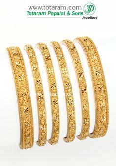22K Fine Gold Bangle - set of 6 (3 pairs): Totaram Jewelers: Buy Indian Gold jewelry & 18K Diamond jewelry