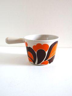 Caquelon à fondue vintage Le Creuset orange années 70