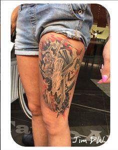 Ballet dancing tattoo lady tattoo tattooed woman female ink By Jim DW